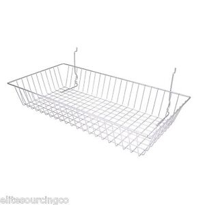 6 Wire Baskets 24 l X 12 d X 4 h Chrome For Slatwall Grid Or Pegboard