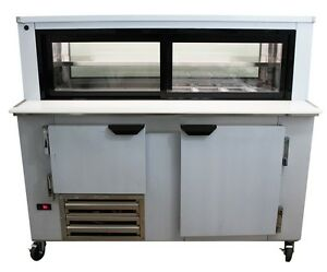 Cooltech 1 1 2 Door Glass Box Display Refrigerated Sandwich Prep Table 60