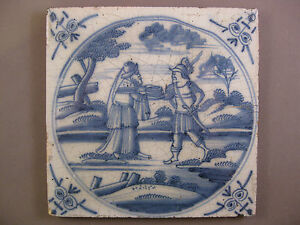 Antique Biblical Dutch Tile 18th Century Free Shipping Nr 21