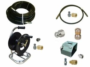 Sewer Jetter Kit Hd Foot Valve 100 X 1 4 Hose Reel And Nozzles