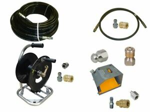 Sewer Jetter Cleaner Kit Foot Valve 150 X 1 4 Hose Reel And Nozzles
