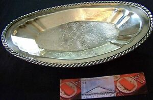 Footed Silver Exlg Open Entree Or Bread Serving Dish Tray Has Fancy Rim Chasing