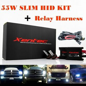 55w 55watt Xentec Super Slim Xenon Hid Kit Conversion Relay Harness H4 H13 880