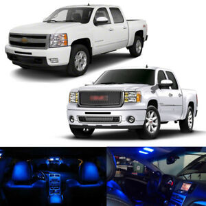 14 X Blue Led Interior Bulbs Lights Package Kit For 2003 2013 Silverado Sierra