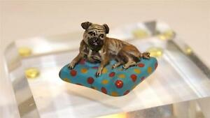 Fritz Bermann Cold Painted Bronze Figure Of French Bulldog Resting 20th Century