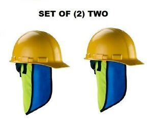 Set Of 2 Chill its 6670ct Evaporative Hard Hat Neck Shades With Cooling Towel