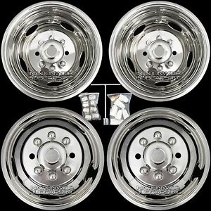 Chevy 3500 17 8 Lug Dually Wheel Simulators Dual Rim Deep Dish Covers Hub Caps