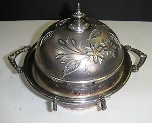 Antique 1883 Silverplated Butter Dish Footed Quadruple S 1225 W Floral Design