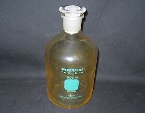 Pyrex Plus Plastic coated 1000ml Glass Reagent Storage Bottle 29 Stopper