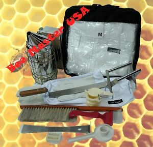 Bee Suit gloves smoker brush tool feeder cage holder knife fork h gate 11 Pcs