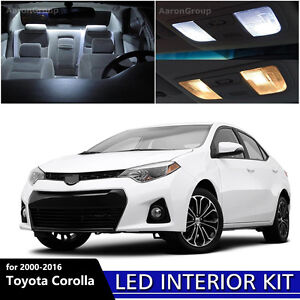 8pcs White Interior Led Light Package Kit For 2000 2017 Toyota Corolla