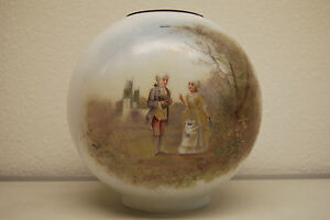 Antique Old Victorian Kerosene Oil Gwtw Lamp Shade Glass Globe Hand Painted