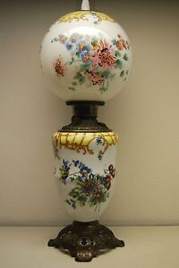 Antique Oil Kerosene Fostoria Glass Victorian Wild Daisy Corn Flower Gwtw Lamp
