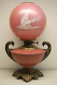 Antique Oil Kerosene B H Miller Banquet Victorian Glass Swift Bird Pink Lamp