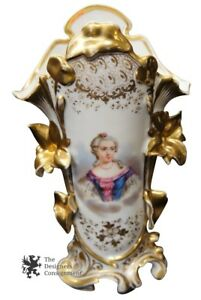 Antique Old Paris Vase Porcelain Hand Painted Woman Gold Trim 19th Century