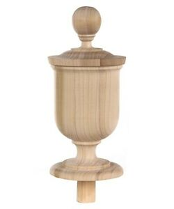 Staircase Finial Newel Post Cap Fn 0106 Poplar Wood 9 1 2 H X 4 1 8 W