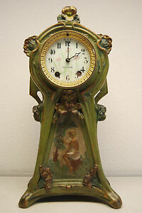Antique Art Nouveau Deco Victorian Mantel Erotic Arts Crafts Seth Thomas Clock