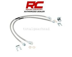 Jeep Tj Yj Xj Rough Country Stainless Steel Extended Front Brake Lines 89702