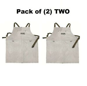 2 Two 38136mw Memphis Welding Leather Bib Aprons Front Pocket 24in X 36in New