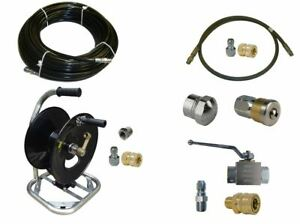 Sewer Jetter Kit Ball Valve 100 X 1 8 Hose Reel And Nozzles