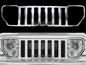 08 13 Jeep Liberty Chrome Snap On Grille Overlay Grill Cover Trim Front Insert Fits Jeep Liberty