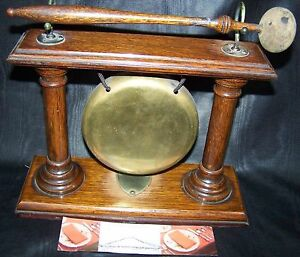 Antique English Oak Brass Dinner Gong Circa 1890 1900 Counter Sz
