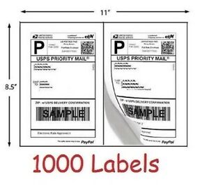 1000 Shipping Labels Self Adhesive Half Sheet Printer Paper Usps Ebay 8 5 X 5 5