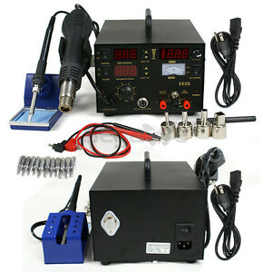 New Smd Dc Power Supply Hot Air Iron Gun Rework Soldering Station Welder 853d N