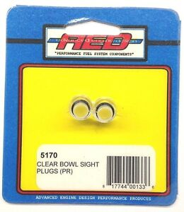 Aed 5170 Pair Of Clear Fuel Bowl Sight Plugs Holley Carburetor See Through Plugs