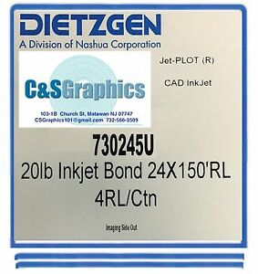 4 Rolls 24 x150 20lb Bond Hp Designjet Plotter Paper 2 Core 92 Bright White