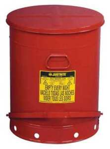 Oily Waste Can 21 Gal steel red Justrite 09700