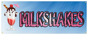 Milkshakes Banner Ice Cream Shop Concession Stand Sign 24x72