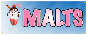 Malts Banner Ice Cream Shop Concession Stand Sign 24x72