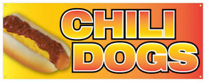 Chili Dogs Banner Hot Dog Spicy Traditional Onion Concession Stand Sign 24x72