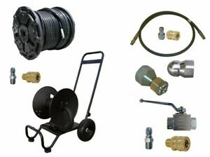 Sewer Jetter Cleaner Kit Ball Valve 200 X 3 8 Hose Reel And Nozzles