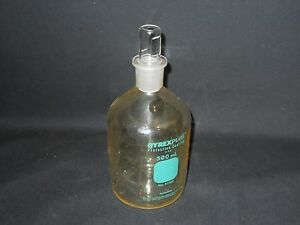 Pyrex Plus Plastic coated 500ml Glass Reagent Storage Bottle 24 Stopper 61500
