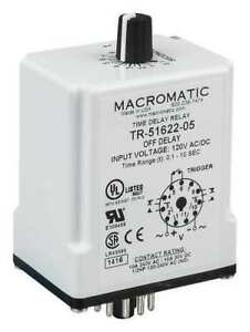 Time Delay Relay 120vac dc 10a dpdt Macromatic Tr 51622 10