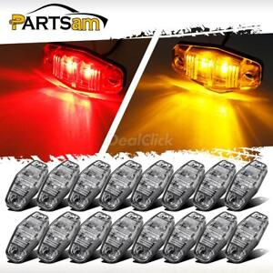 16pcs Led Light Red amber Clear Case Surface Mount Universal Side Marker Trailer