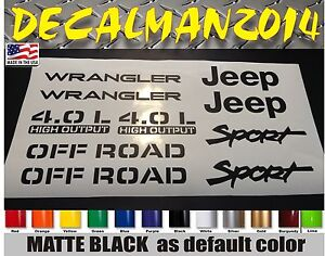 Jeep Wrangler Sport Vinyl Stickers Vinyl Decals Set Yj Tj 4 0l 10 Piece Set