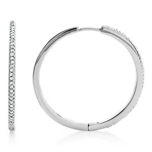 0.25 Carat Natural Diamond Hoop Earrings in Sterling Silver
