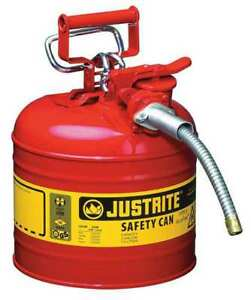 2 Gal Red Galvanized Steel Type Ii Safety Can For Flammables Justrite 7220120