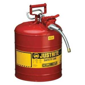 5 Gal Red Galvanized Steel Type Ii Safety Can For Flammables Justrite 7250120