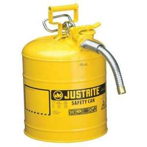 5 Gal Yellow Galvanized Steel Type Ii Safety Can For Diesel Justrite 7250230