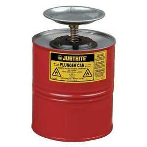 Justrite 10308 Plunger Can 1 Gal galvanized Steel red