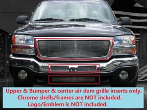 Polished Billet Grille Grill Combo For Gmc Sierra 1500 2500 3500 03 07