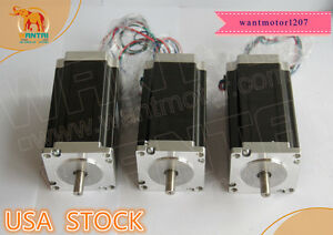 Ship From Us Wantai 3pcs Nema23 Stepper Motor Dual Shaft 425oz 3a 115mm 1 8