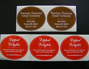 Custom Oval Labels 500 Printed Business Stickers 1 Color Roll Bleed 2 1 2 X 3