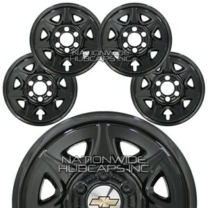 4 Gloss Black 2014 2018 Chevy Silverado 1500 17 Wheel Skins Hub Caps Rim Covers