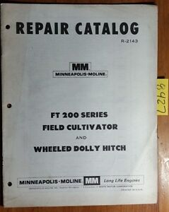 Minneapolis moline Ft 200 Series Field Cultivator Wheeled Dolly Hitch Manual