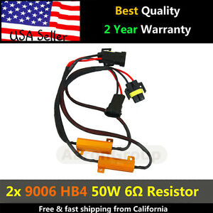 2pcs 9006 Hb4 Led Load Resistor 50w 6ohm Decoder For Led Bulbs Error Code